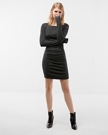 rouched black dress