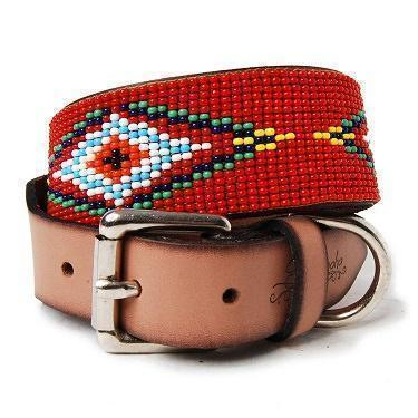 beaded, leather collar