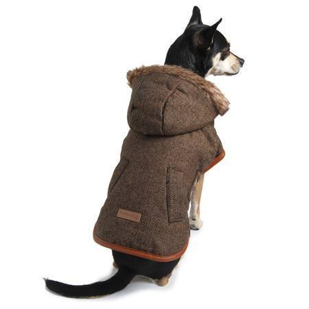 Faux Fur Hooded Dog Coat