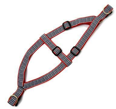 black, white, and red patterned harness